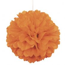 "16"" Puff Ball Paper Lantern - Orange"